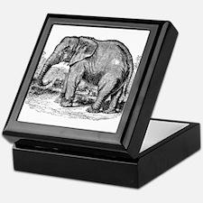 Vintage African Elephant Black White Keepsake Box
