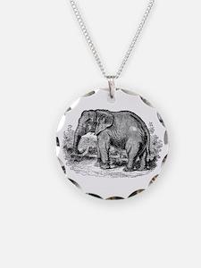 Vintage African Elephant Bla Necklace