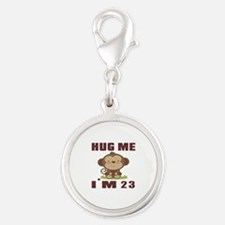 Hug Me I Am 23 Silver Round Charm
