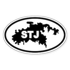 St. John's STJ Map Oval Bumper Stickers
