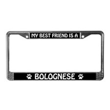 My Best Friend Is A Bolognese License Plate Frame
