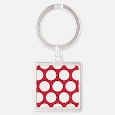 Red, Cherry: Polka Dots Pattern (L Square Keychain