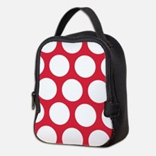 Red, Cherry: Polka Dots Pattern Neoprene Lunch Bag