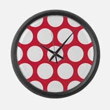 Red, Cherry: Polka Dots Pattern ( Large Wall Clock