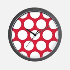 Red, Cherry: Polka Dots Pattern (Large) Wall Clock