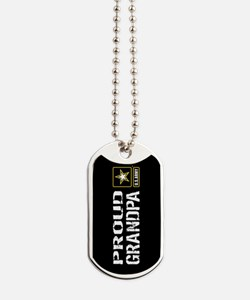 U.S. Army: Proud Grandpa (Black) Dog Tags