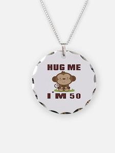 Hug Me I Am 50 Necklace Circle Charm