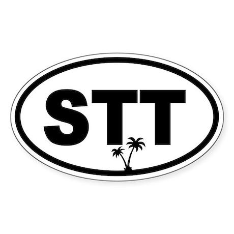 St. Thomas STT Palm Trees Oval Sticker