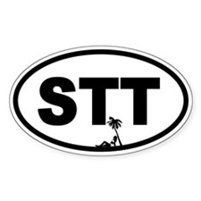 St. Thomas STT Beach Beauty Oval Decal