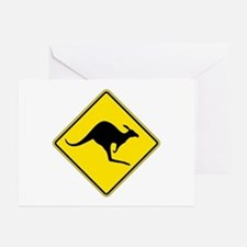Kangaroo Crossing, Australia Greeting Cards (Pk of