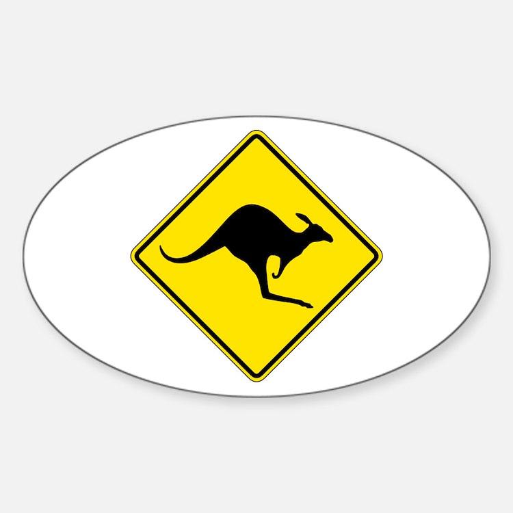 Kangaroo Crossing, Australia Oval Decal