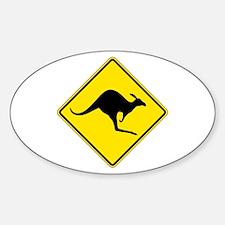 Kangaroo Crossing, Australia Oval Stickers