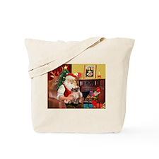 Santa's Tibetan Spaniel Tote Bag