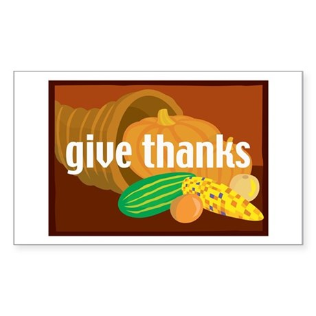 Cornucopia Give Thanks Rectangle Sticker