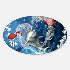 Dolphin jumping by a heart made of water Decal