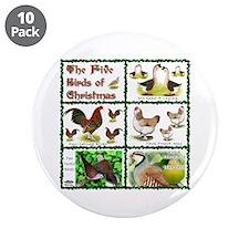 "Christmas Birds 3.5"" Button (10 pack)"