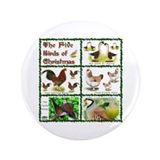 "Christmas Birds 3.5"" Button"