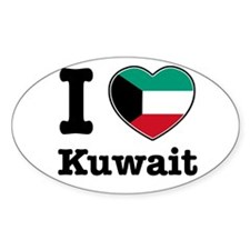 I love Kuwait Oval Decal