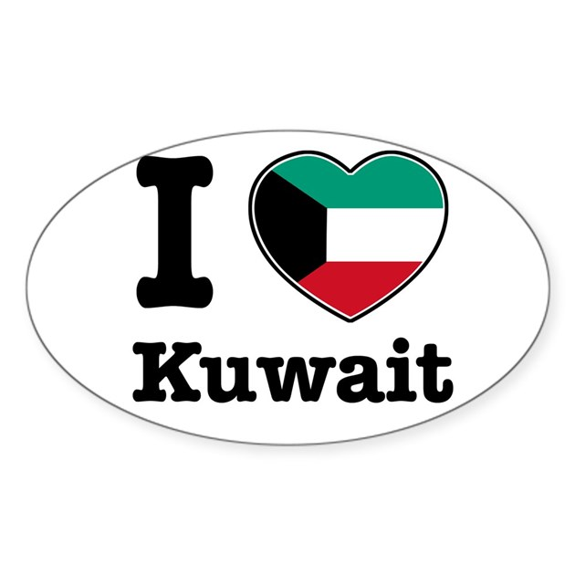 I Love Kuwait Oval Decal By Breezyteez
