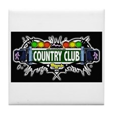 Country Club (Black) Tile Coaster