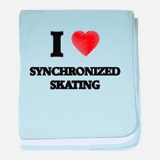 I Love Synchronized Skating baby blanket
