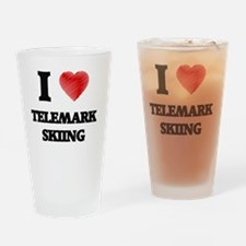 I Love Telemark Skiing Drinking Glass