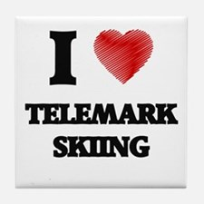 I Love Telemark Skiing Tile Coaster