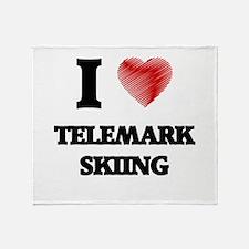 I Love Telemark Skiing Throw Blanket