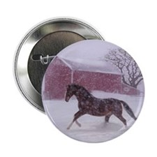"""Let It Snow! Christmas Horse Barn 2.25"""" Button"""
