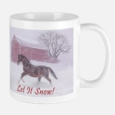 Let It Snow! Christmas Horse Barn Mug