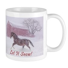 Let It Snow! Christmas Horse Barn Small Mugs