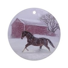 Let It Snow! Christmas Horse Barn Ornament (Round)