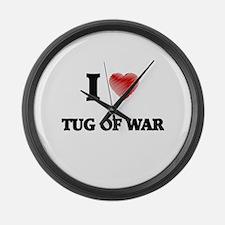 I Love Tug Of War Large Wall Clock