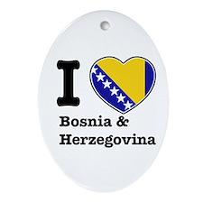I love Bosnia and Herzegovina Oval Ornament
