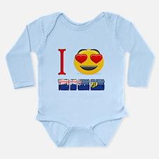 I Love Turks and Caico Long Sleeve Infant Bodysuit