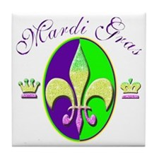 Mardi Gras with Crowns Tile Coaster