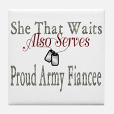 she that waits proud army fiancee Tile Coaster