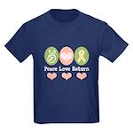 Peace Love Yellow Ribbon Kids Dark T-Shirt
