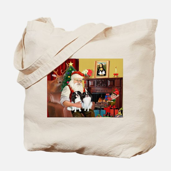 Santa's 2 Japanese Chins Tote Bag