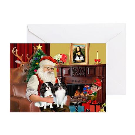 Santa's 2 Japanese Chins Greeting Cards (Pk of 10)