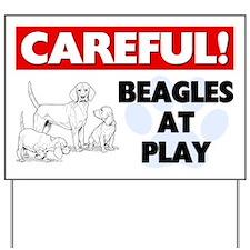 Careful Beagles At Play Yard Sign