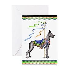 Great Dane Black Carousel Greeting Card
