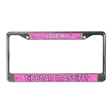 Pink Polka Dot Tibetan Mastiff License Plate Frame