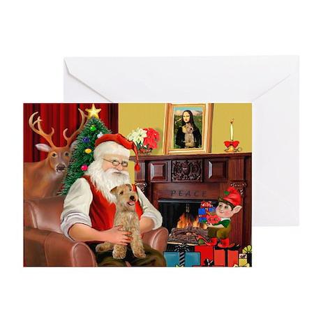 Santa/Lakeland Terrier Greeting Cards (Pk of 20)