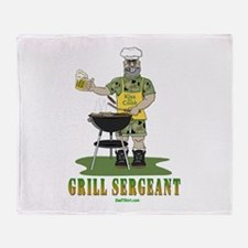 Grill Sergeant Funny Dad Throw Blanket
