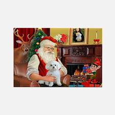 Santa's Maltese (#11) Rectangle Magnet