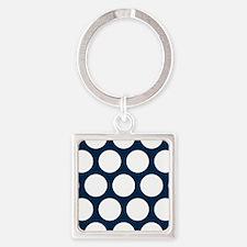 Blue, Navy: Polka Dots Pattern (La Square Keychain
