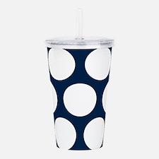Blue, Navy: Polka Dots Acrylic Double-wall Tumbler