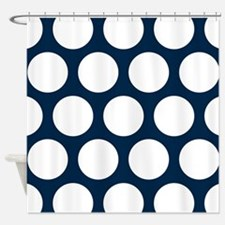 Blue, Navy: Polka Dots Pattern (Lar Shower Curtain