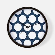 Blue, Navy: Polka Dots Pattern (Large) Wall Clock